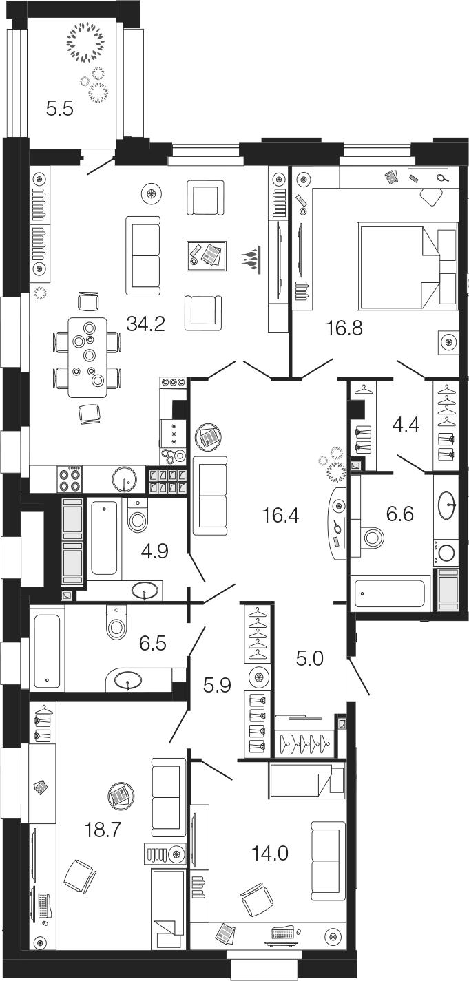 4Е-комнатная, 133.4 м²– 2