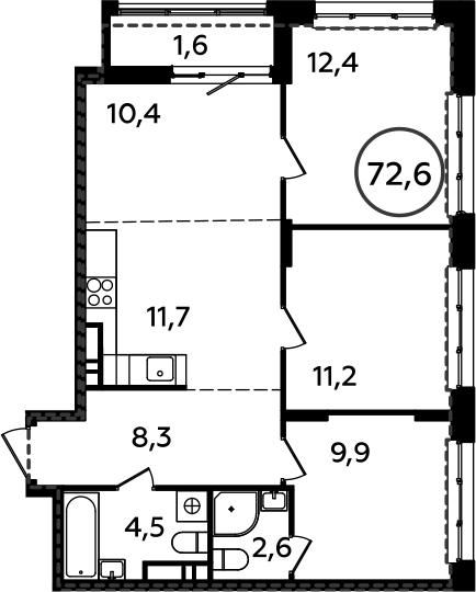 4Е-комнатная, 72.6 м²– 2