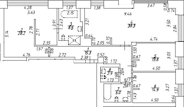 4Е-к.кв, 126.9 м², 8 этаж