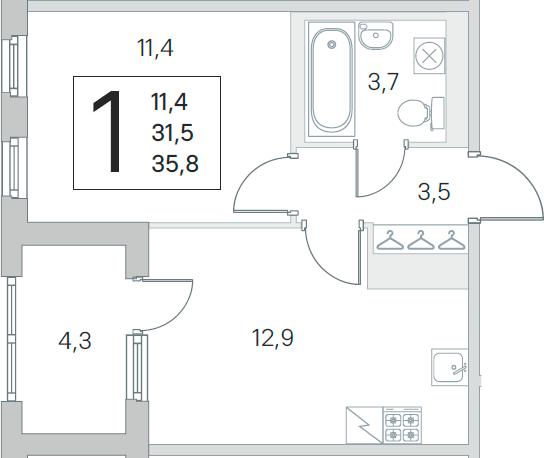 2Е-к.кв, 31.5 м², 5 этаж
