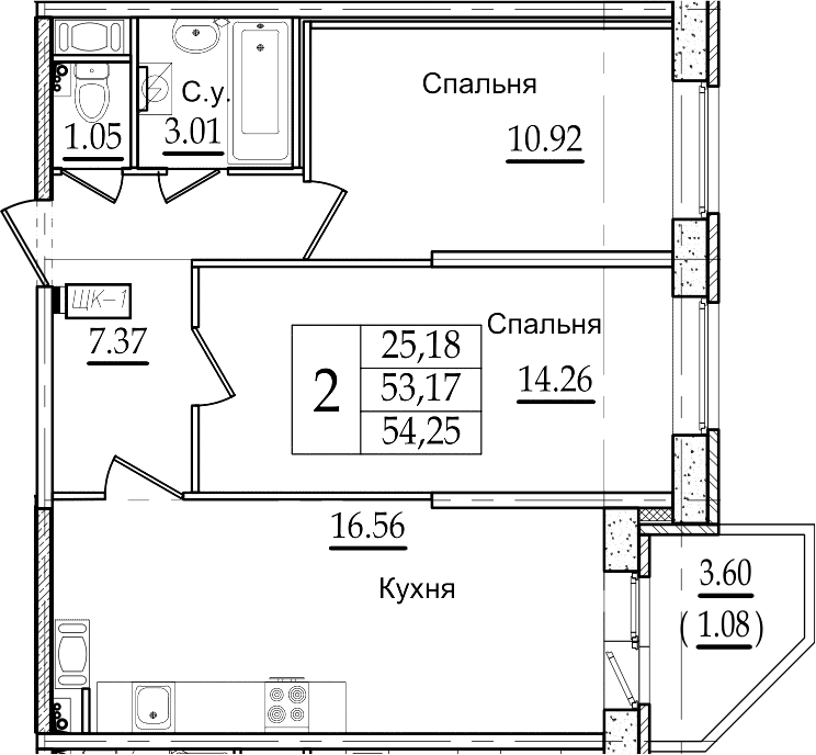 3Е-к.кв, 54.25 м²