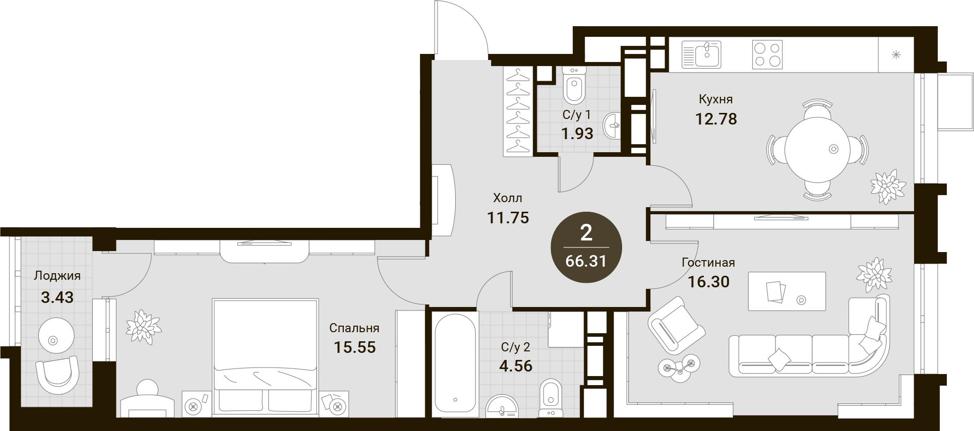 2-комнатная, 66.31 м²– 2