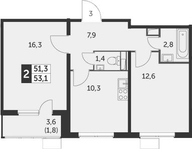 2-комнатная, 53.1 м²– 2