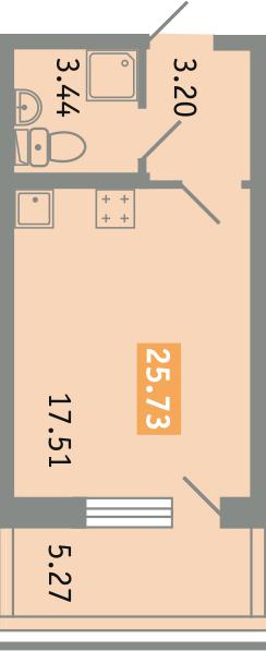 Студия, 29.42 м²