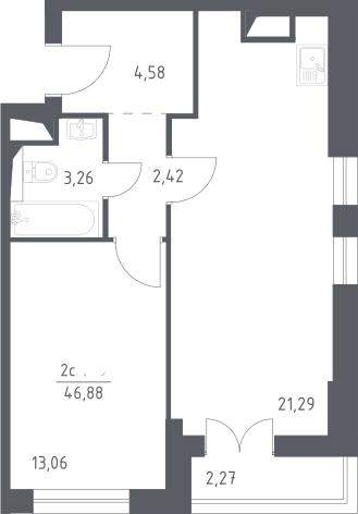 2Е-к.кв, 46.88 м²
