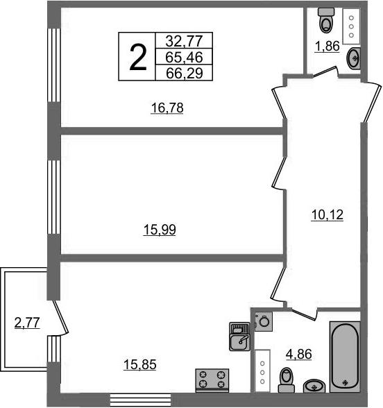 2-к.кв, 68.23 м²