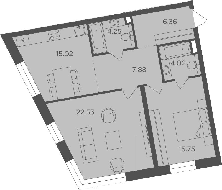 2-комнатная, 75.81 м²– 2