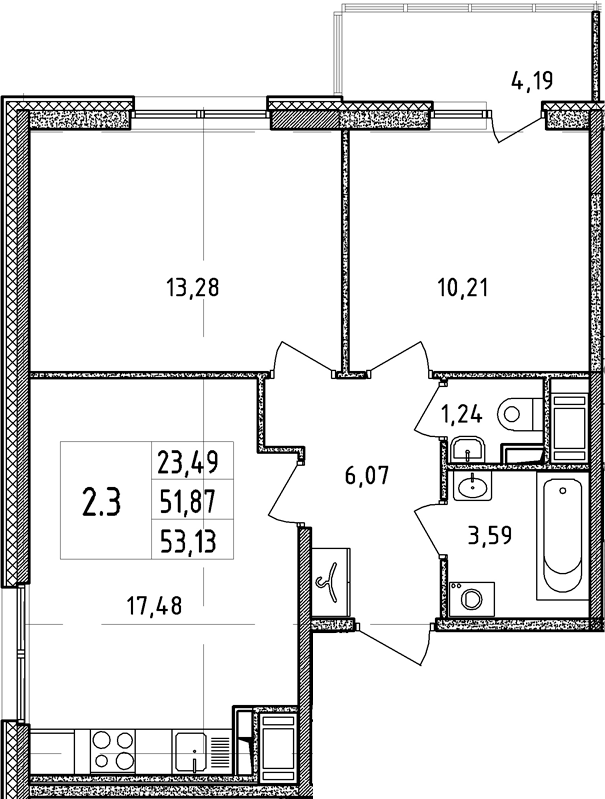 3Е-к.кв, 51.87 м²