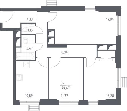 3-к.кв, 70.47 м²