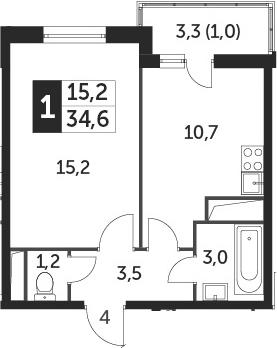 1-к.кв, 34.6 м²