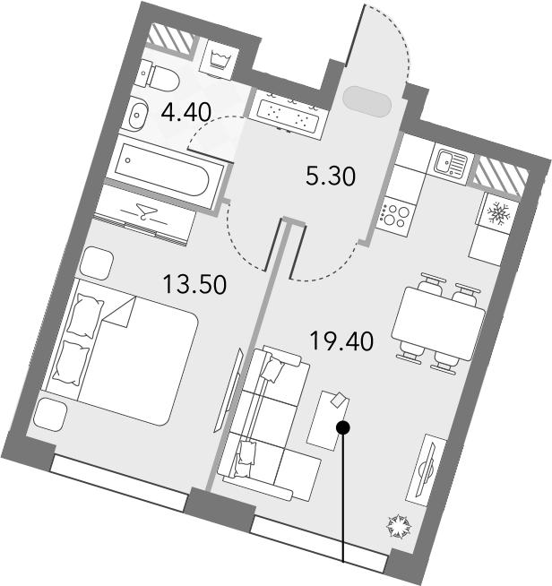 2Е-комнатная, 42.6 м²– 2