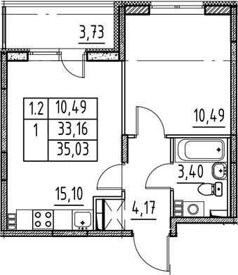 2-к.кв (евро), 36.89 м²