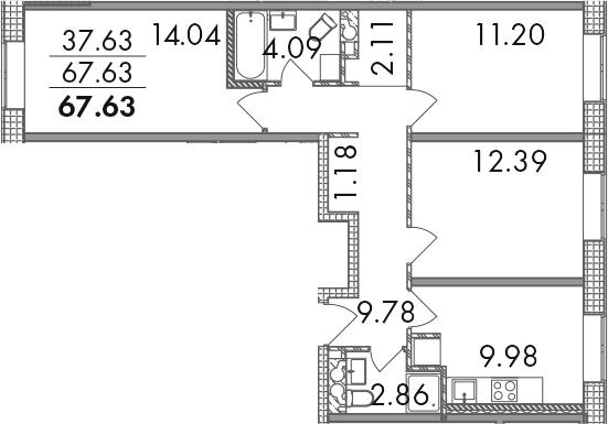 3-к.кв, 67.63 м²