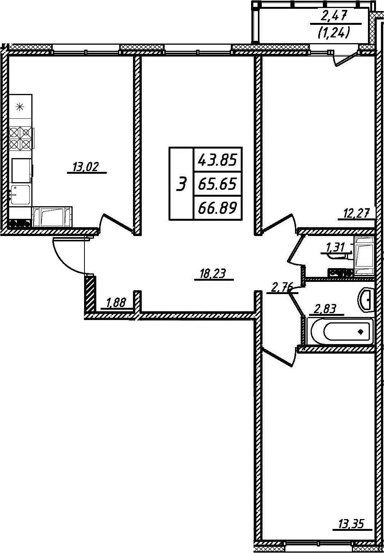 3-комнатная, 66.89 м²– 2