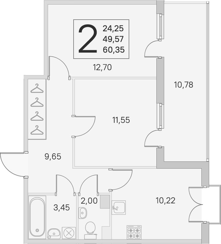 2-комнатная, 49.57 м²– 2