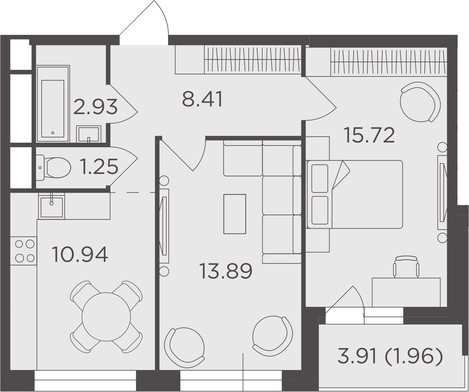 2-к.кв, 55.1 м²