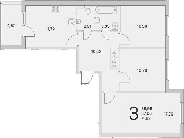 3-к.кв, 69.35 м²