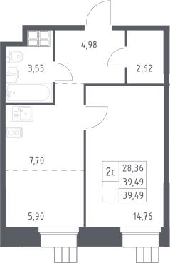 2Е-комнатная, 39.49 м²– 2