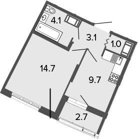 1-к.кв, 32.6 м², от 16 этажа