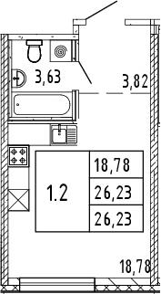 Студия, 26.23 м²– 2