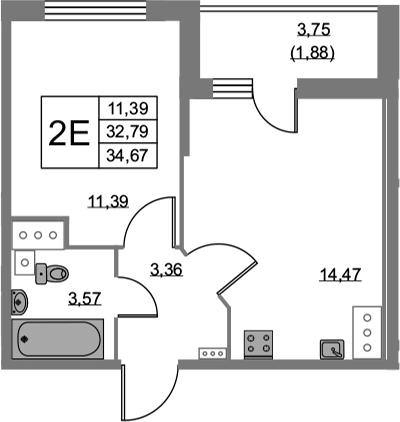 2Е-к.кв, 34.67 м², 24 этаж