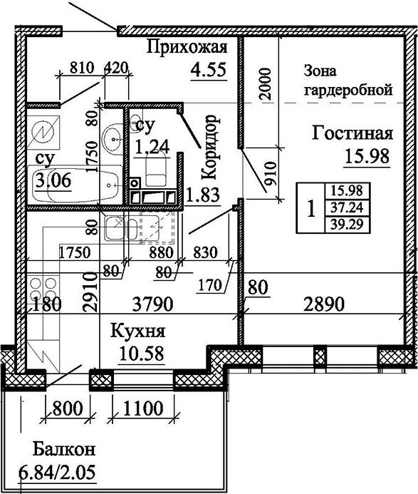 1-комнатная, 39.29 м²– 2