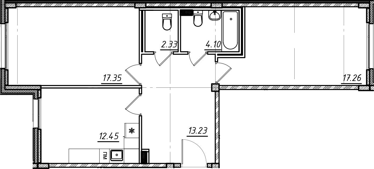 2-комнатная, 66.72 м²– 2