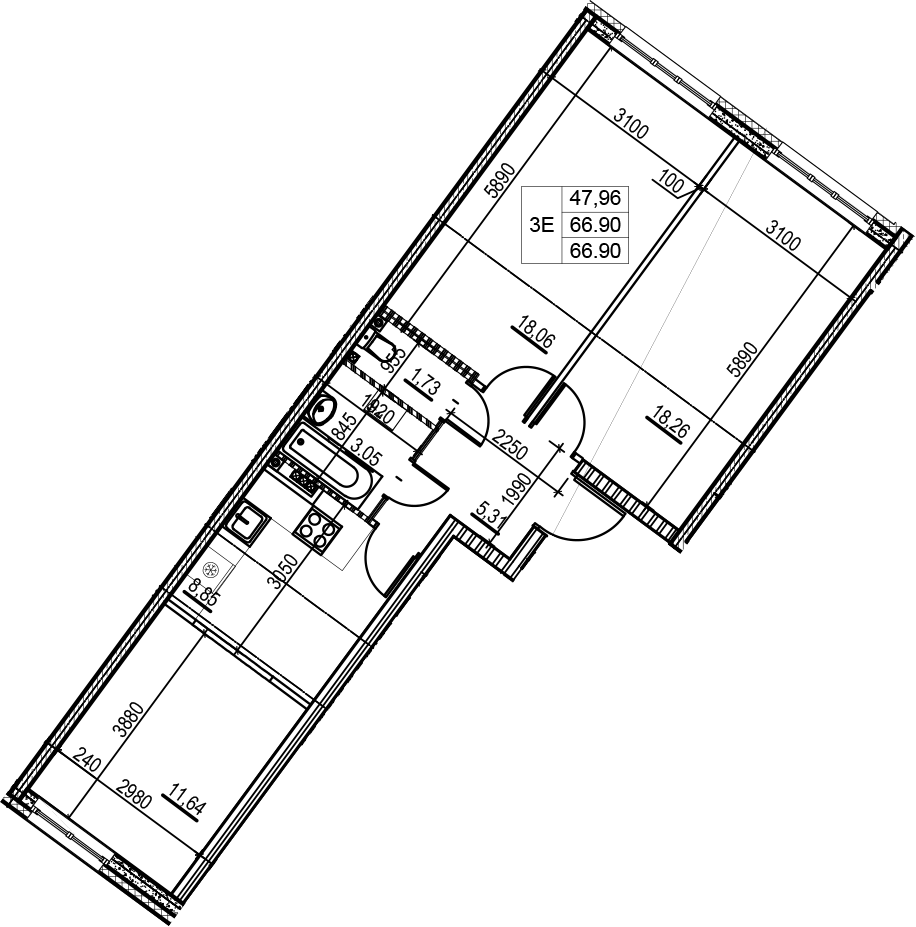 3Е-комнатная, 66.9 м²– 2