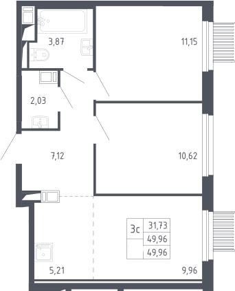 3Е-к.кв, 49.96 м²