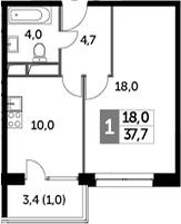 1-к.кв, 37.7 м², от 7 этажа