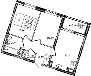 2-к.кв, 49.71 м²