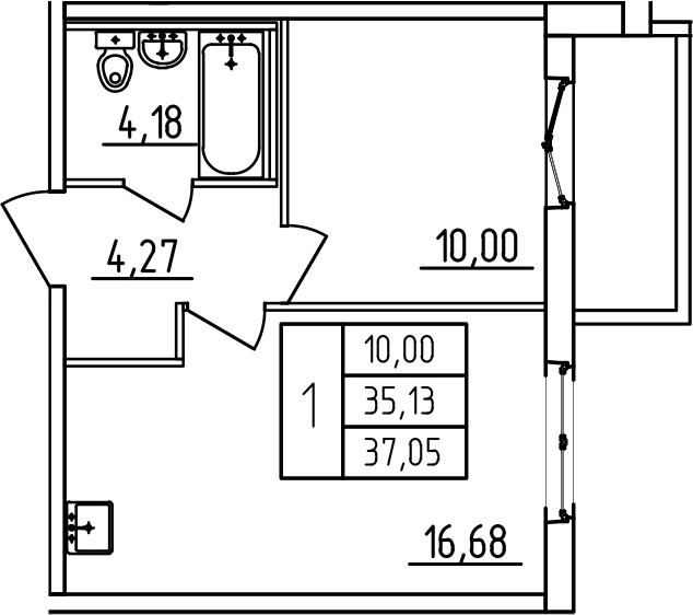 2-к.кв (евро), 38.97 м²