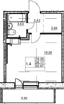 Студия, 28.17 м², от 12 этажа