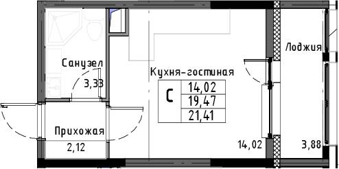 Студия, 21.41 м², 3 этаж