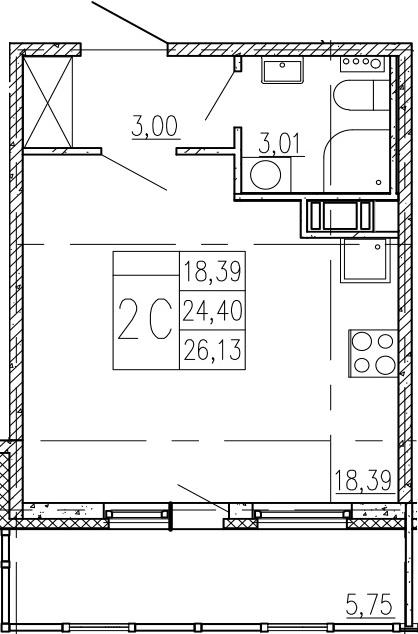 Студия, 30.15 м²