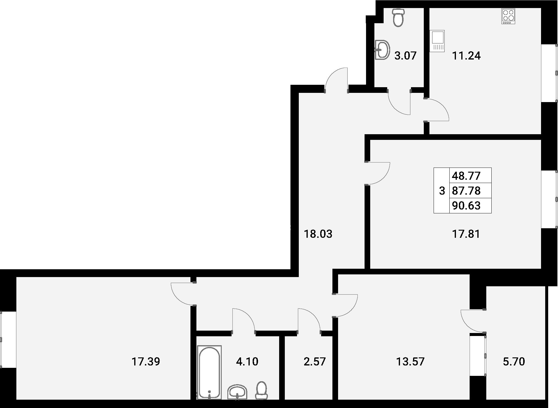 3-к.кв, 90.63 м²