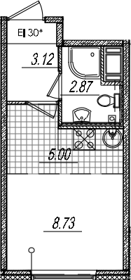 Студия, 19.72 м²– 2