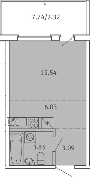 Студия, 27.83 м², от 3 этажа