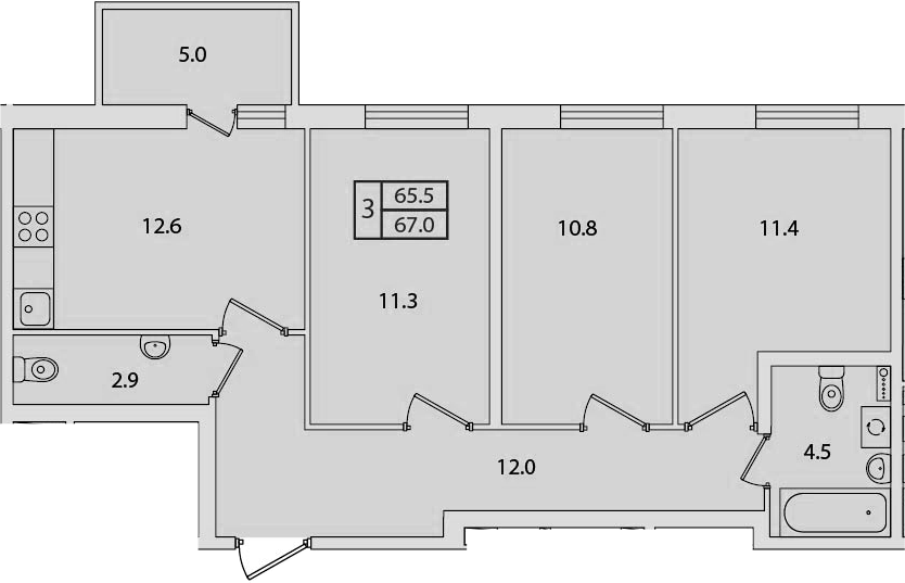 3-к.кв, 67 м²