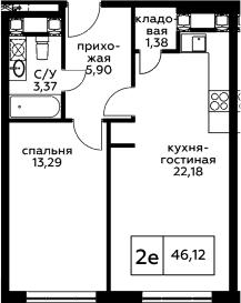 2Е-комнатная, 46.12 м²– 2