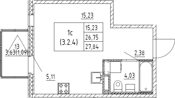 Студия, 27.84 м²– 2