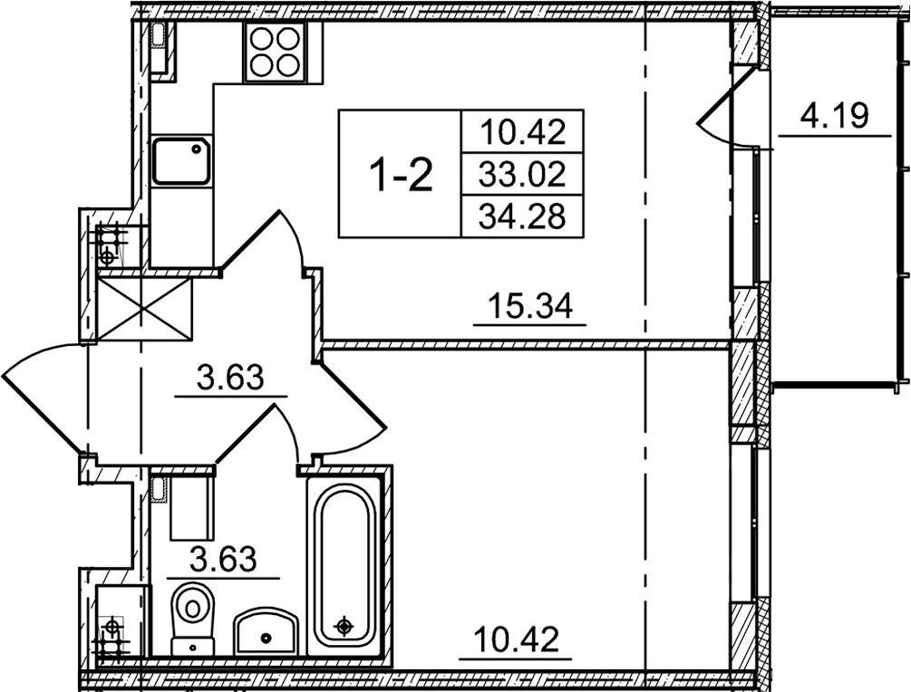 2-к.кв (евро), 37.21 м²