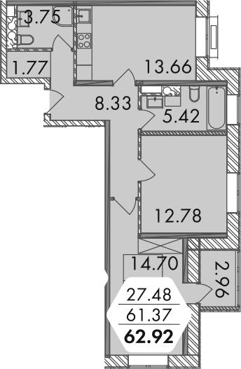 3-к.кв (евро), 63.37 м²