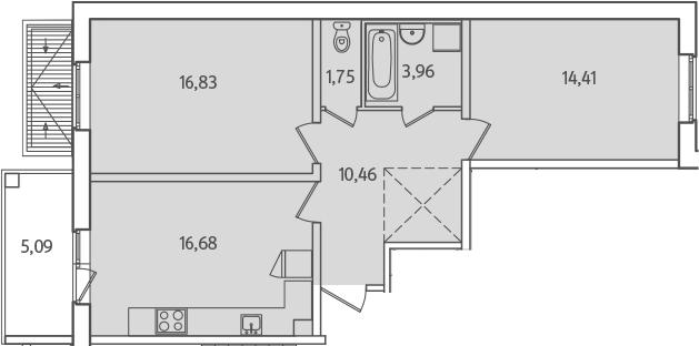 3-к.кв (евро), 69.19 м²