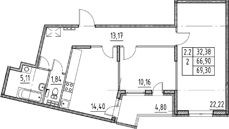 2-к.кв, 66.9 м²