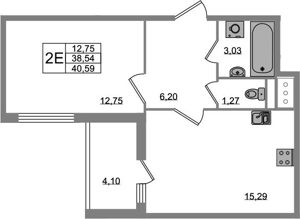 2Е-комнатная квартира, 38.54 м², 8 этаж – Планировка