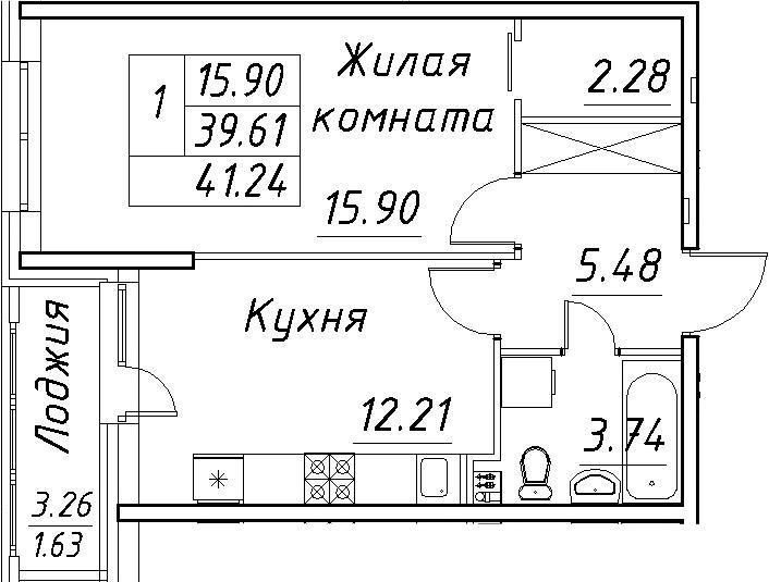 1-к.кв, 45.04 м²