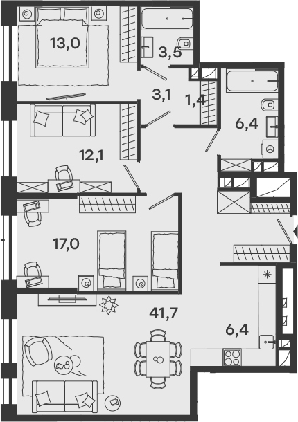 4Е-комнатная, 104.6 м²– 2