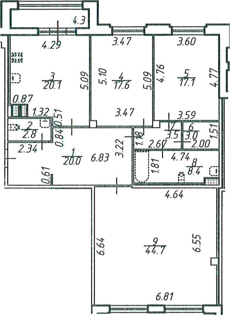 3-к.кв, 141.5 м²