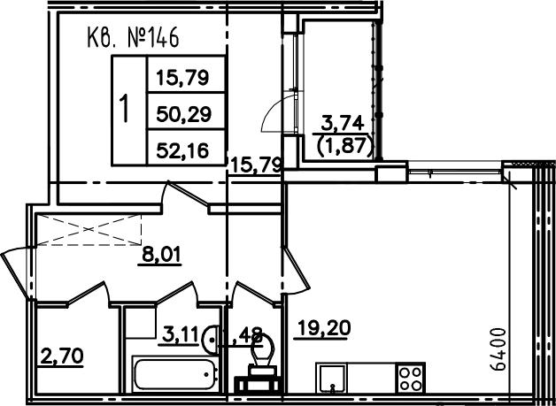 2-к.кв (евро), 54.03 м²